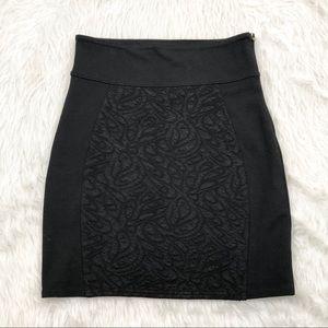 Silence + Noise Black Textured Front Skirt